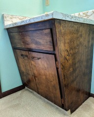 We love these vintage angled cabinets!